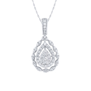 10K White Gold Pear Shape Diamond Cluster Pendant (1.00 ct tw)
