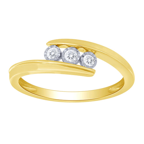 10K Yellow Gold Three Stone Diamond Anniversary Band (0.10 ct tw)