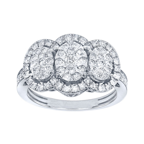 Oval Halo Diamond Cluster Ring in 10K White Gold (1.00 ct tw)