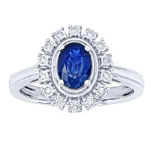 Load image into Gallery viewer, 10K White Gold Sapphire and Diamond Ring (0.07ct tw)