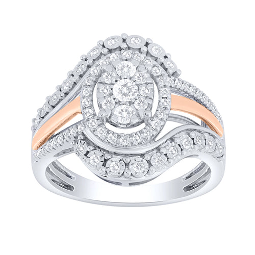 Diamond Cluster Ring in Two-Tone 10K White and Rose Gold (0.50 ct tw)