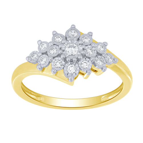 10K Yellow and White Gold Diamond Cluster Ring (0.20 ct tw)