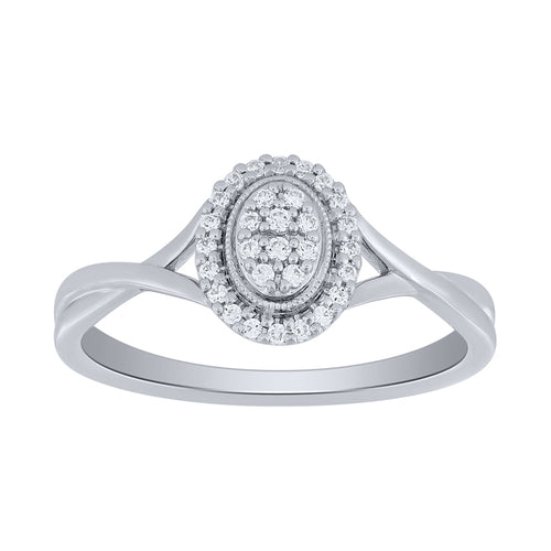 Oval Halo Diamond Cluster Promise Ring in 10K White Gold (0.14 ct tw)