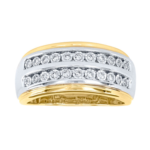 10K Yellow and White Gold Double Row Gents Diamond Ring (0.25ct tw)