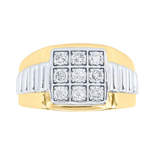 Men's 10K Two-Tone Yellow and White Gold Diamond Cluster Ring (0.25ct tw)