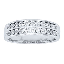 Load image into Gallery viewer, Miracle Mark Double Row Diamond Anniversary Band in 10K White Gold (0.13ct tw)
