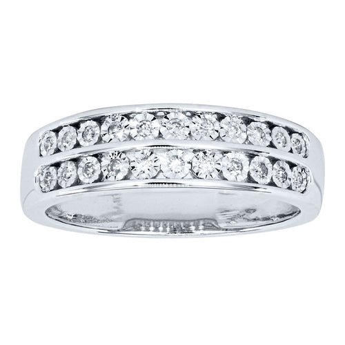 Miracle Mark Double Row Diamond Anniversary Band in 10K White Gold (0.13ct tw)