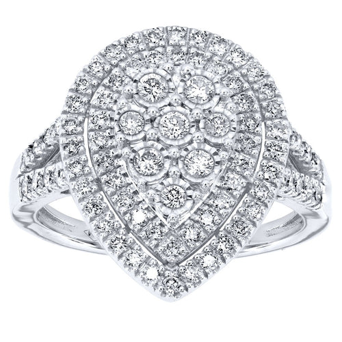 Pear Shaped Diamond Cluster Ring In 10K White Gold (0.75ct tw)
