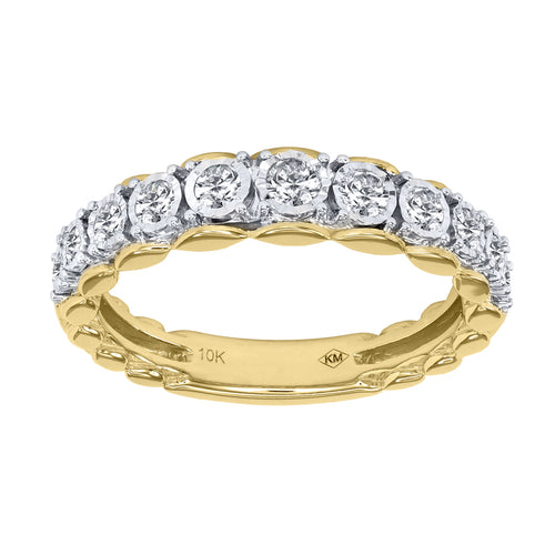 Diamond Anniversary Band In 10K Yellow and White Gold (0.40 ct tw)