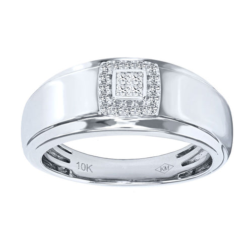 10K White Gold Square Halo Gents Ring (0.19 ct tw)