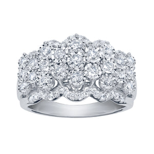 """Majestic"" Diamond Cluster Ring in 10K White Gold (1.00 ct tw)"