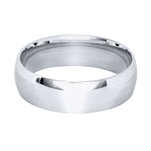 Low Dome Comfort Fit Wedding Band in 14K White Gold (6MM)