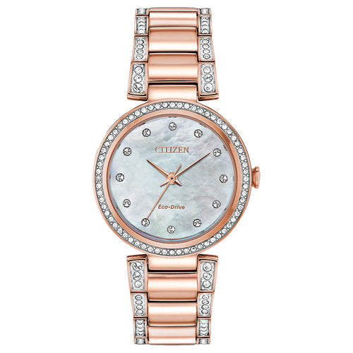 Citizen Eco-Drive Silhouette Crystal Rose Gold Tone