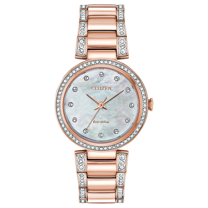 Citizen Eco-Drive Silhouette Crystal Rose Gold Tone | EM0843-51D