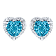 Load image into Gallery viewer, Heart Shape Blue Topaz and Diamond Earrings in 14K White Gold