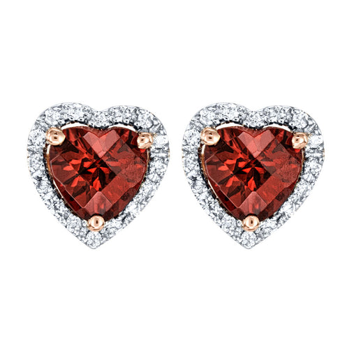 Heart Shape Garnet and Diamond Earrings in 14K White Gold