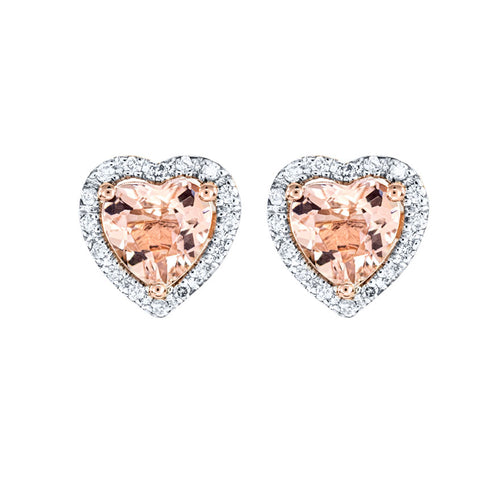 Heart Shape Morganite and Diamond Earrings in 14K Rose Gold (0.10ct tw)