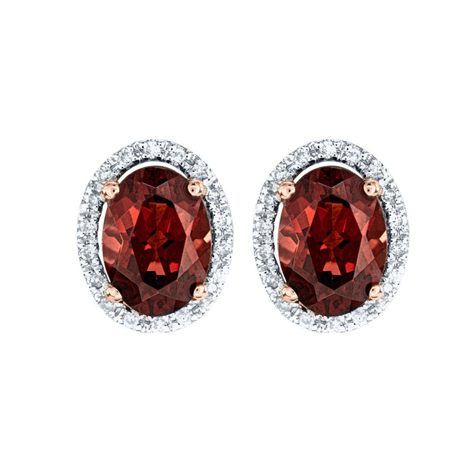 Oval Garnet and Diamond Earrings in 14K Rose Gold (0.11ct tw)
