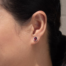 Load image into Gallery viewer, Oval Garnet and Diamond Earrings in 14K Rose Gold (0.11ct tw)