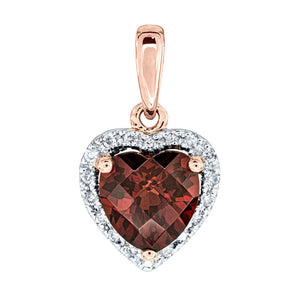 Heart Shaped Garnet and Diamond Pendant in 14K Rose Gold (0.05ct tw)