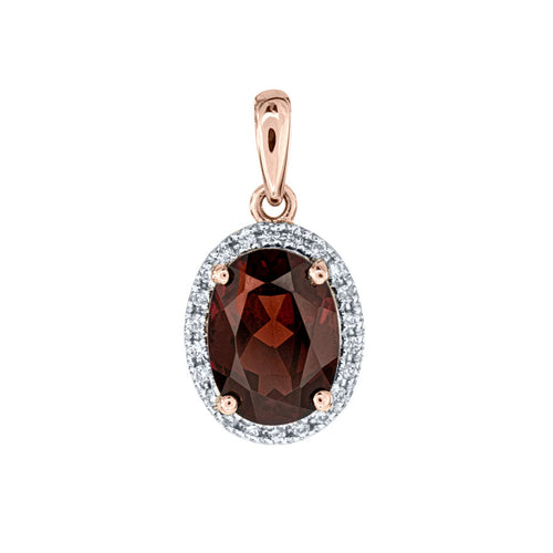 Oval Garnet and Diamond Pendant in 14K Rose Gold (0.06ct tw)