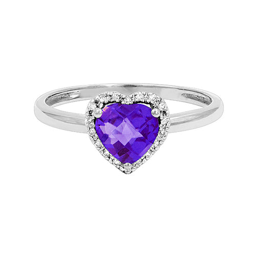 Heart Shaped Amethyst Ring Set in 14K White Gold