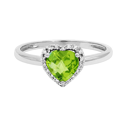 Heart Shaped Peridot Ring in 14K White Gold