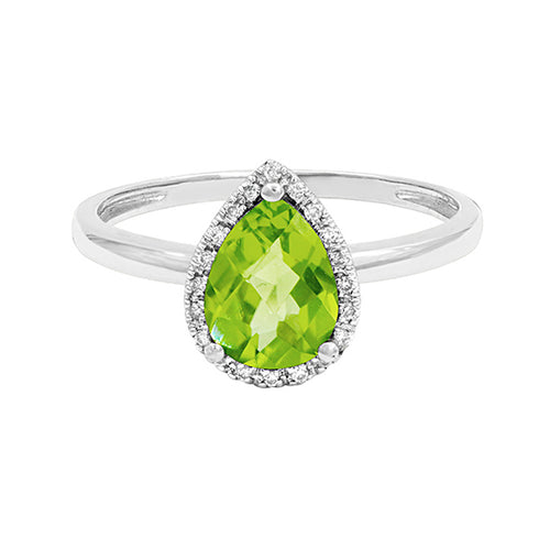 Pear Shaped Peridot Ring in 14K Rose Gold