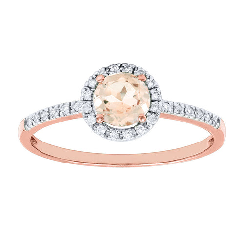 Morganite Ring with Diamond Accents in 14K Rose Gold