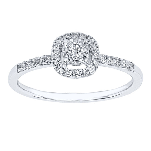 Diamond Halo Ring of the Miracle Mark Collection in 14K White Gold with Diamonds (0.24ct tw)