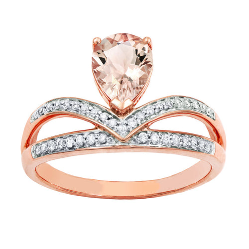 Pear-Shaped Morganite and Diamond Ring in 14K Rose Gold