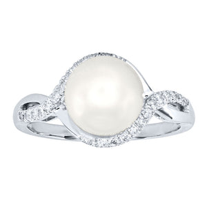 Cultured Pearl and Diamond Ring in 14K White Gold (0.17ct tw)