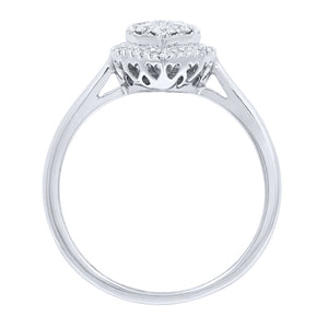 Pear-Shape Diamond Cluster Ring in 14K White Gold (0.41 ct tw)