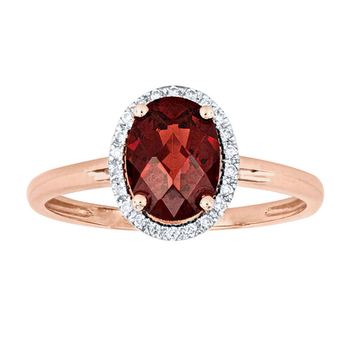 Oval Garnet and Diamond Ring in 14K Rose Gold (0.07ct tw)