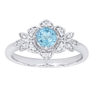 Round Blue Topaz and Diamond Ring in 14K White Gold (0.09ct tw)
