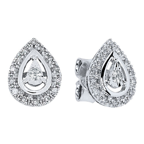 Pear Shape Diamond Halo Stud Earrings in 10K White Gold