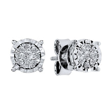 Load image into Gallery viewer, Diamond Cluster Stud Earrings in 10K White Gold (0.16 ct tw)
