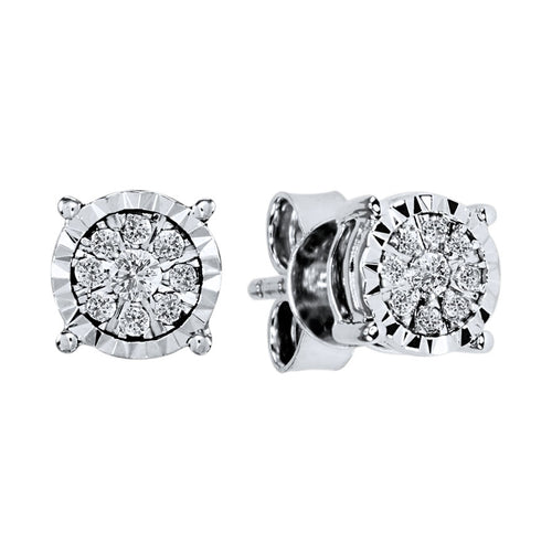 Diamond Cluster Stud Earrings in 10K White Gold (0.16 ct tw)