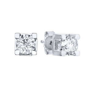 Solitaire Canadian Diamond Stud Earrings in 14K White Gold (0.10 ct tw)