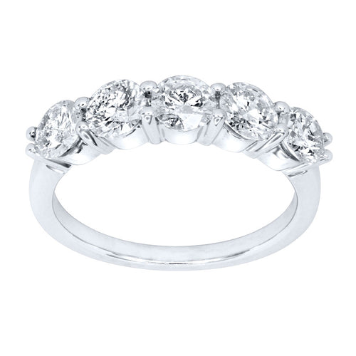 Five Stone Canadian Diamond Anniversary Ring in 14K White Gold (1.50ct tw)