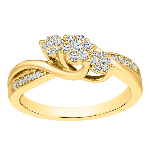 10K Yellow Gold and Rhodium Plated Diamond Cluster Ring (0.20 ct tw)