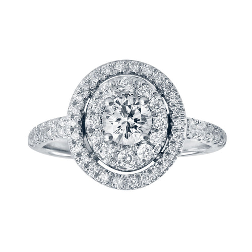 14K Double Halo Diamond Engagement Ring (1.00 ct tw)