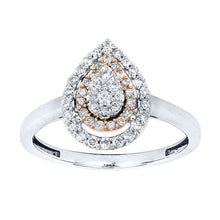 Load image into Gallery viewer, Pear Shape Cluster Diamond Ring in 10K White and Rose Gold (0.30ct tw)
