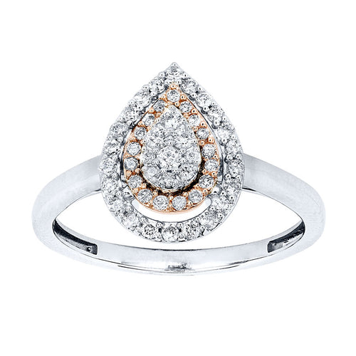 Pear Shape Cluster Diamond Ring in 10K White and Rose Gold (0.30ct tw)