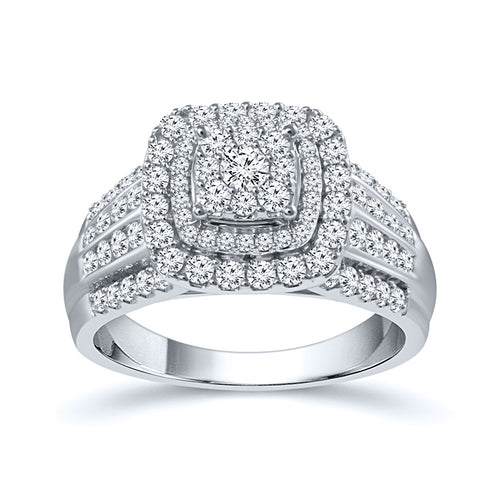 Diamond Cluster Ring in 10K White Gold (1.00 ct tw)