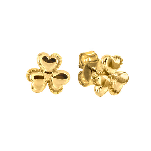 Three Leaf Clover Stud Earrings in 10K Yellow Gold