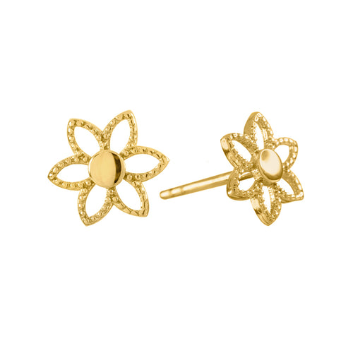 Sunflower Stud Earrings in 10K Yellow Gold