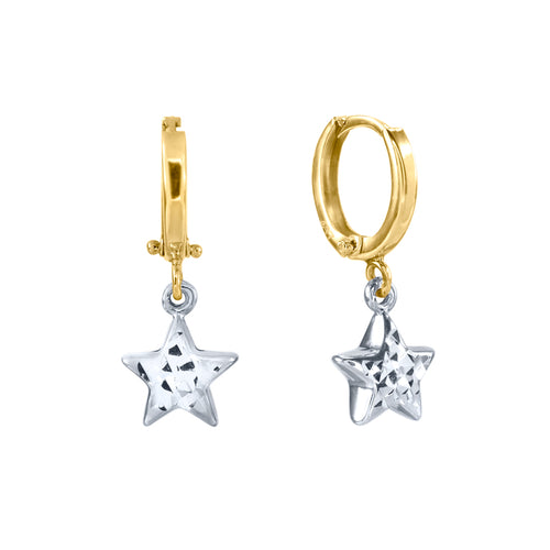 10K White and Yellow Gold Drop Star Earrings