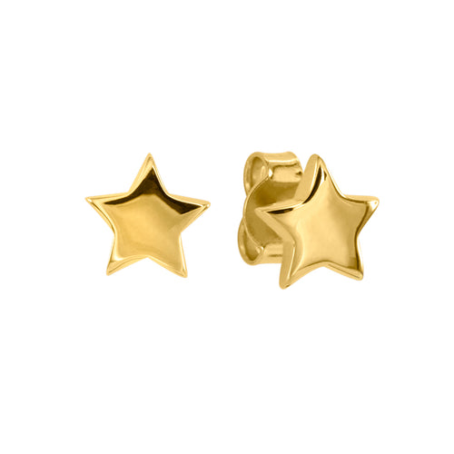 Star Stud Earrings in 10K Yellow Gold