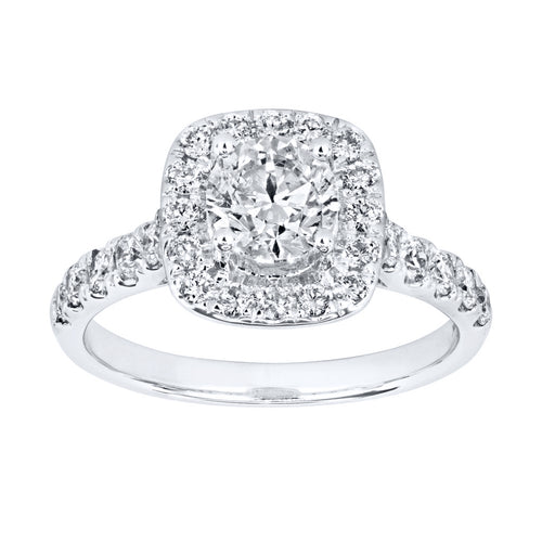 Halo Diamond Engagement Ring in 14K White Gold (1.50ct tw)